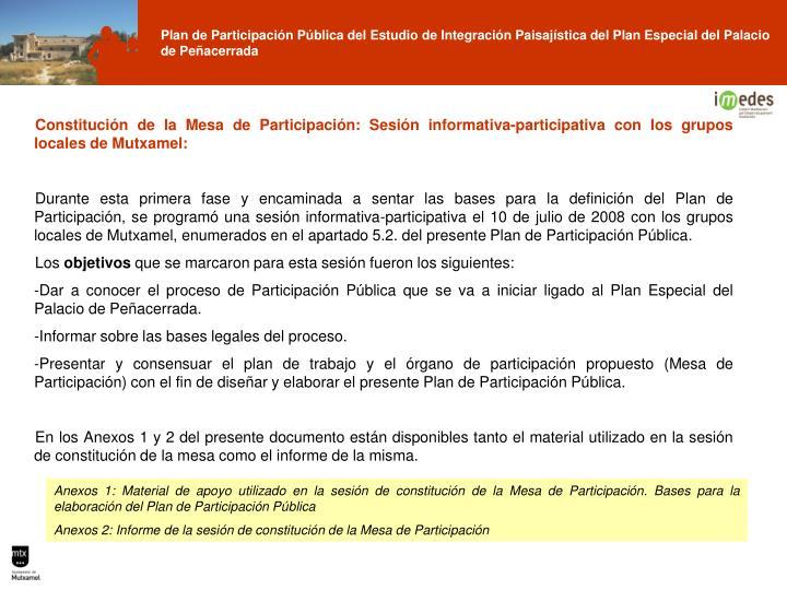 Constitución de la Mesa de Participación: Sesión informativa-participativa con los grupos locales de Mutxamel: