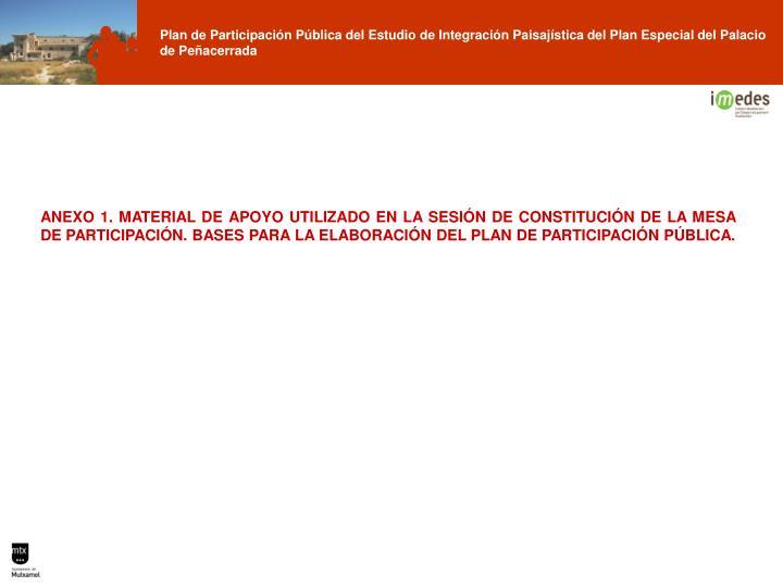 ANEXO 1. MATERIAL DE APOYO UTILIZADO EN LA SESIÓN DE CONSTITUCIÓN DE LA MESA DE PARTICIPACIÓN. BASES PARA LA ELABORACIÓN DEL PLAN DE PARTICIPACIÓN PÚBLICA.
