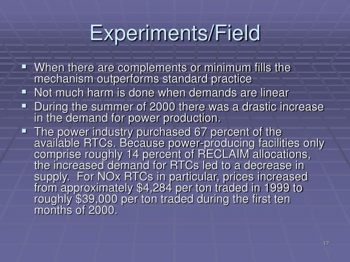 Experiments/Field