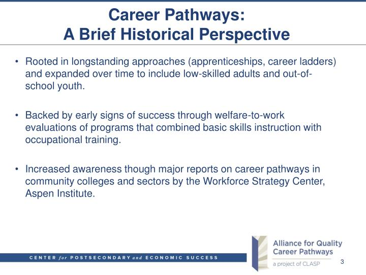 Career pathways a brief historical perspective