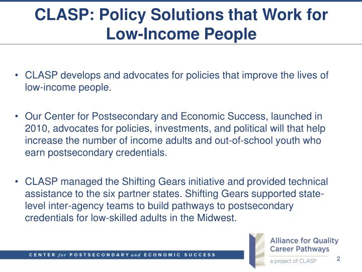 Clasp policy solutions that work for low income people