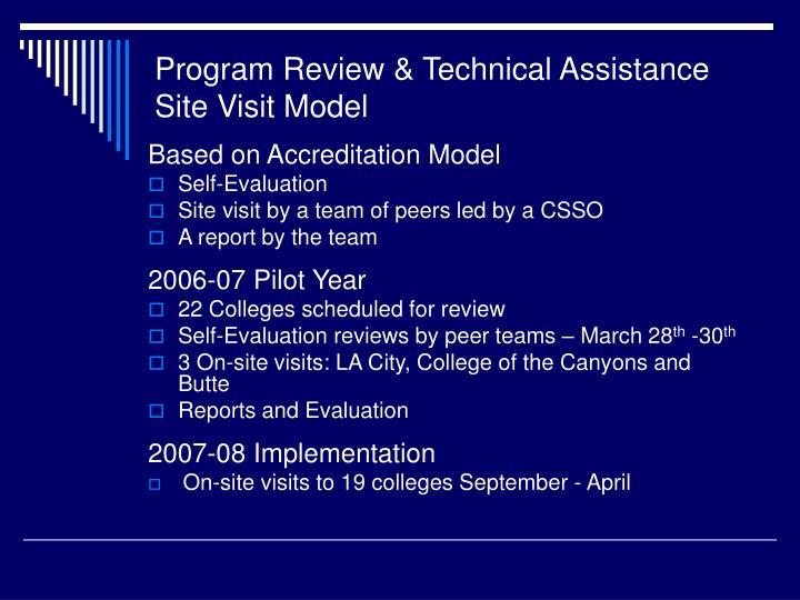 Program Review & Technical Assistance