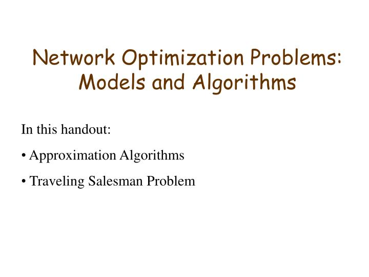 Network Optimization Problems: