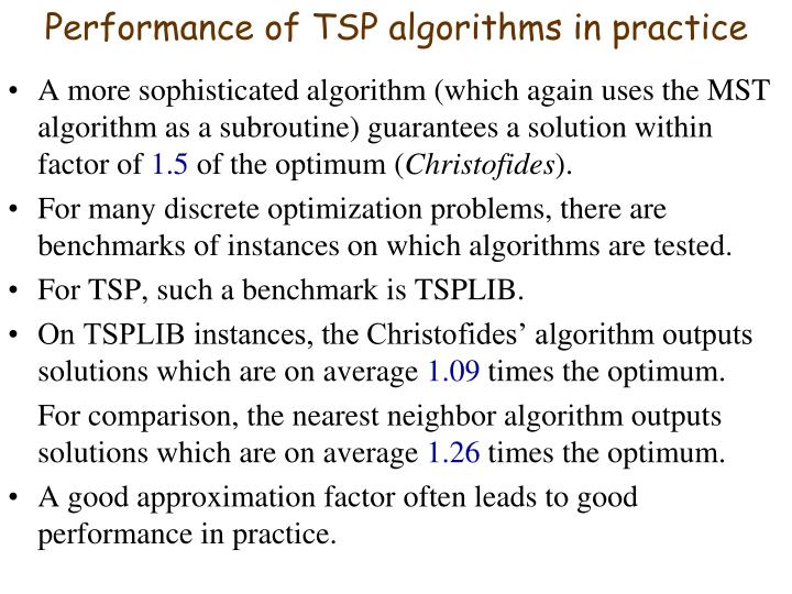 Performance of TSP algorithms in practice