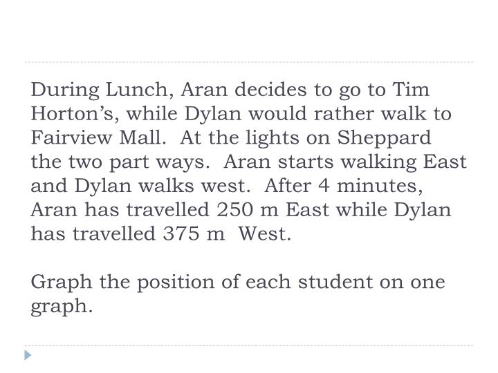 During Lunch, Aran decides to go to Tim Horton's, while Dylan would rather walk to Fairview Mall.  At the lights on Sheppard the two part ways.  Aran starts walking East and Dylan walks west.  After 4 minutes, Aran has travelled 250 m East while Dylan has travelled 375 m  West.