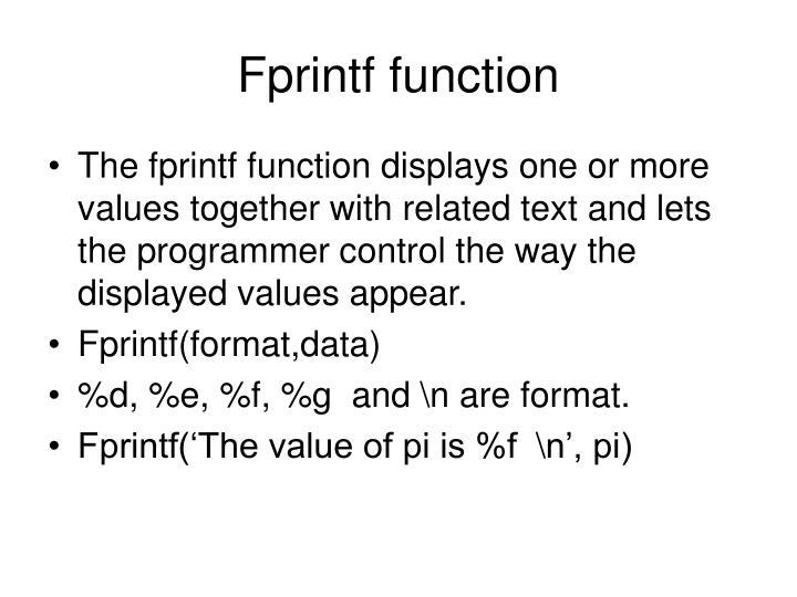 Fprintf function