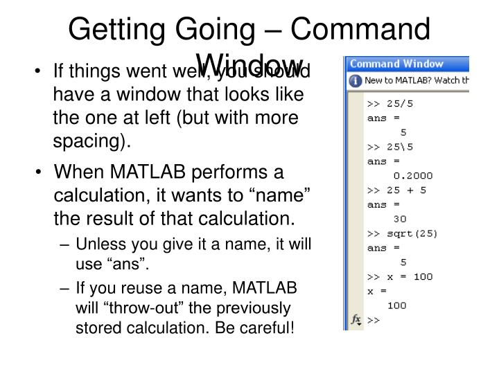 Getting Going – Command Window