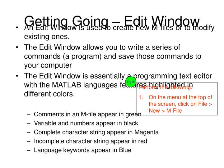 Getting Going – Edit Window