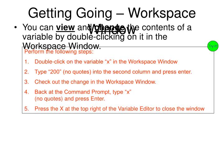 Getting Going – Workspace Window