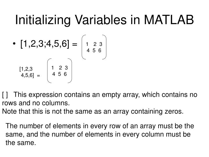 Initializing Variables in MATLAB
