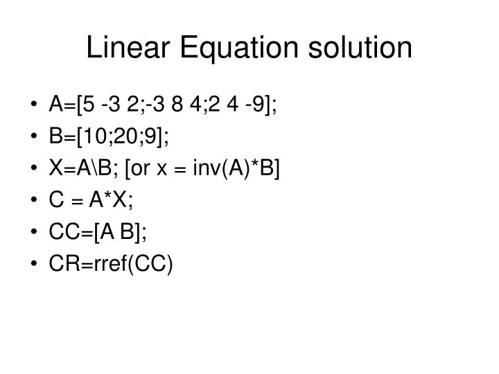 Linear Equation solution