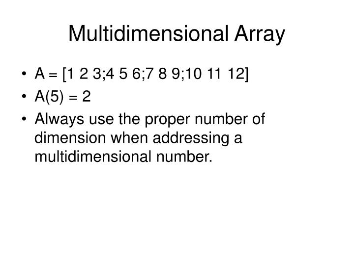Multidimensional Array