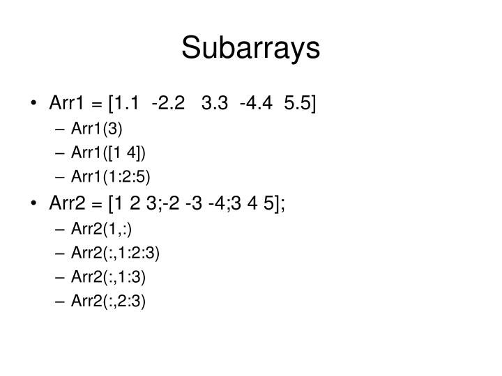 Subarrays