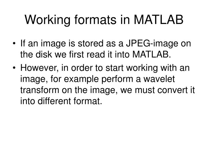 Working formats in MATLAB