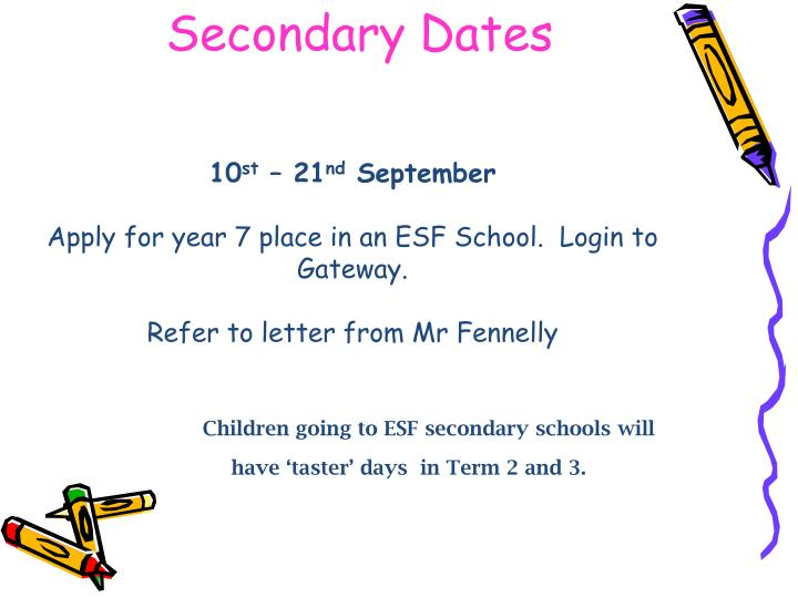 Secondary Dates