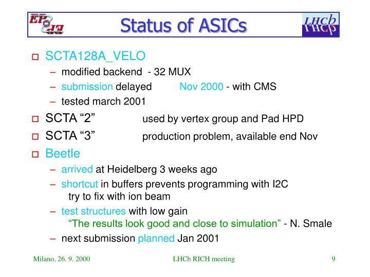 Status of ASICs