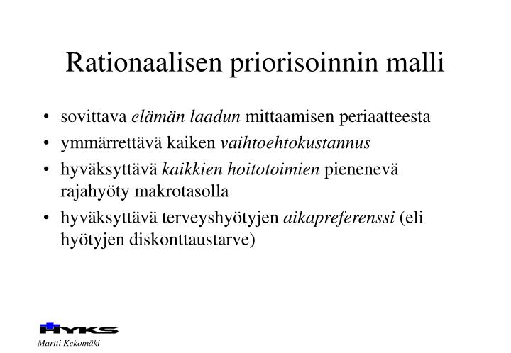 Rationaalisen priorisoinnin malli