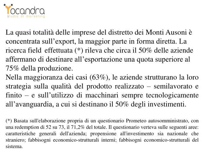 La quasi totalità delle imprese del distretto dei Monti Ausoni è concentrata sull'export, la maggior parte in forma diretta. La ricerca field