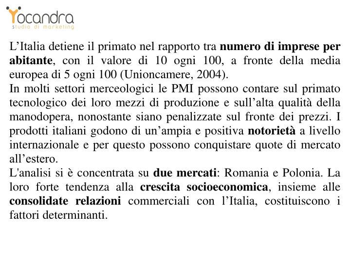 L'Italia detiene il primato nel rapporto tra