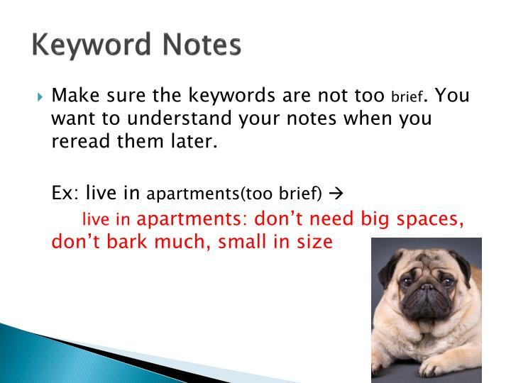 Keyword Notes