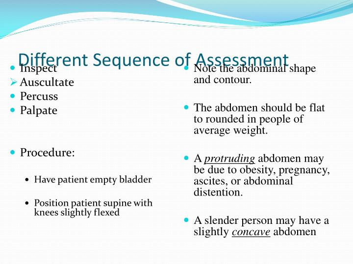 Different Sequence of Assessment