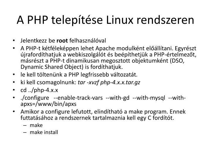 A PHP telepítése
