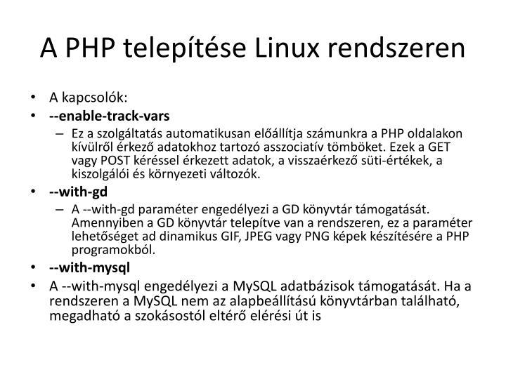A PHP telepítése Linux rendszeren
