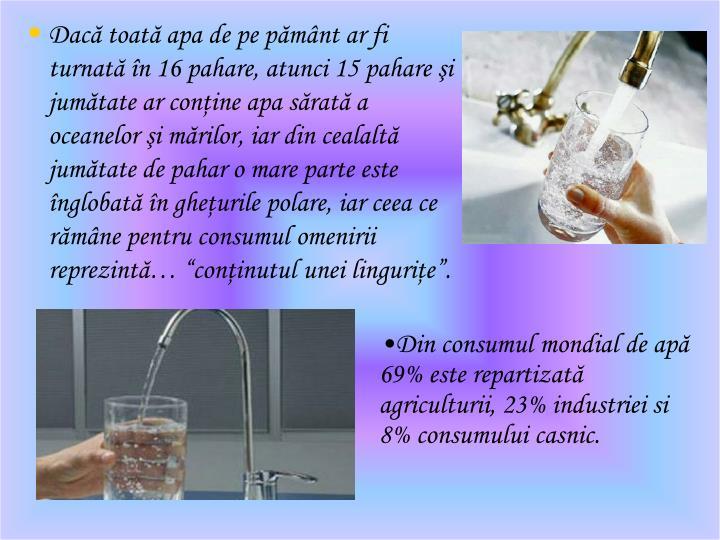 Dac toat apa de pe pmnt ar fi turnat n 16 pahare, atunci 15 pahare i jumtate ar conine apa srat a oceanelor i mrilor, iar din cealalt jumtate de pahar o mare parte este nglobat n gheurile polare, iar ceea ce rmne pentru consumul omenirii reprezint coninutul unei lingurie.