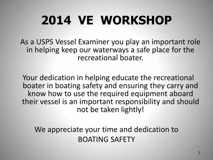 2014 ve workshop