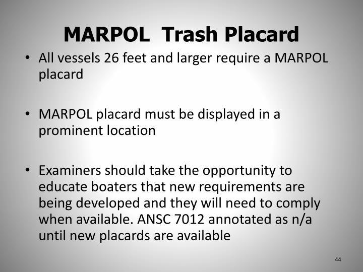 MARPOL  Trash Placard