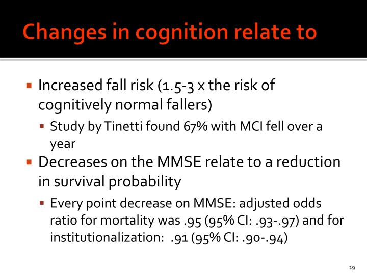 Changes in cognition relate to