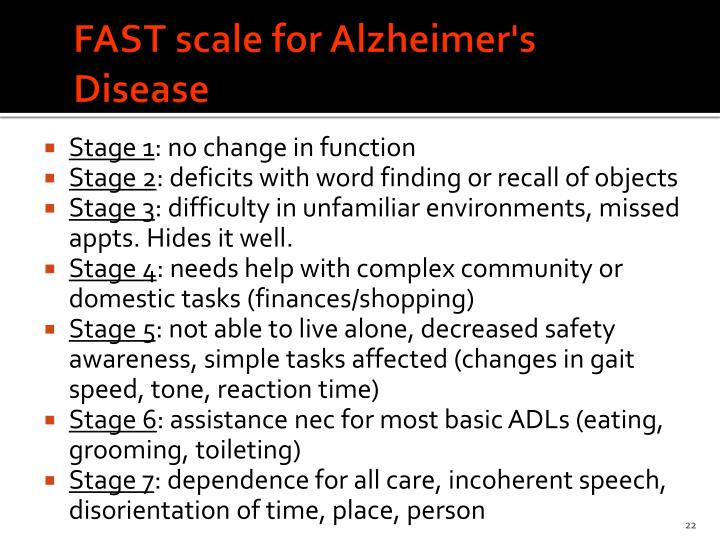 FAST scale for Alzheimer's Disease
