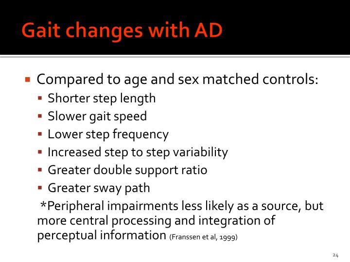 Gait changes with AD