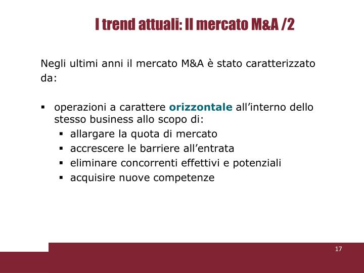 I trend attuali: Il mercato M&A /2