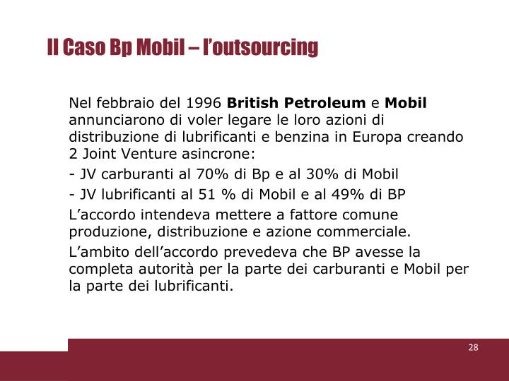 Il Caso Bp Mobil – l'outsourcing