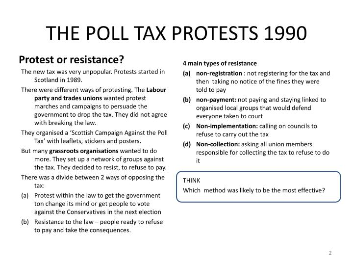 THE POLL TAX PROTESTS 1990