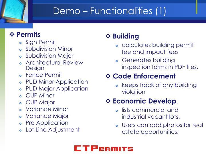 Demo – Functionalities (1)