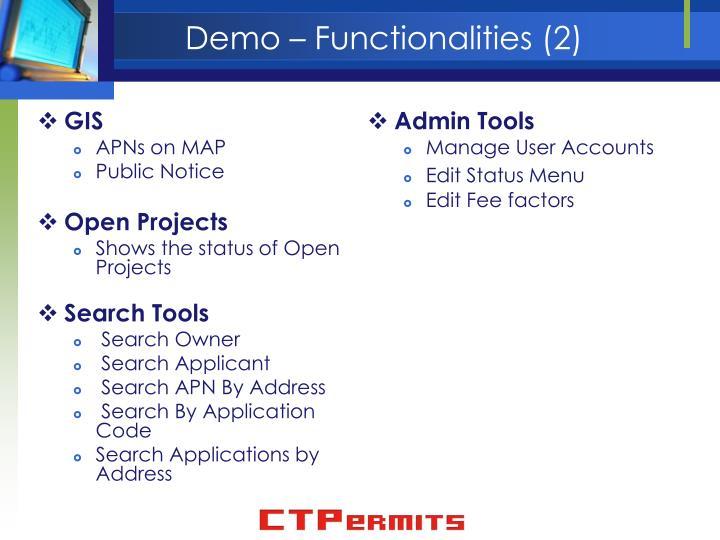 Demo – Functionalities (2)