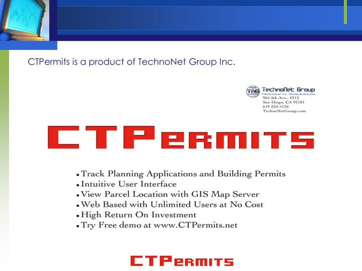 CTPermits is a product of TechnoNet Group Inc.