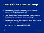 lean path for a second leap