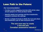 lean path to the future