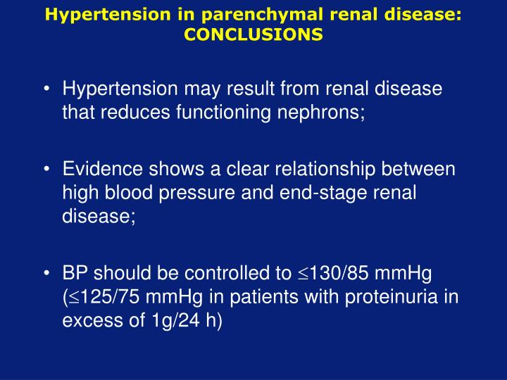 Hypertension in parenchymal renal disease: