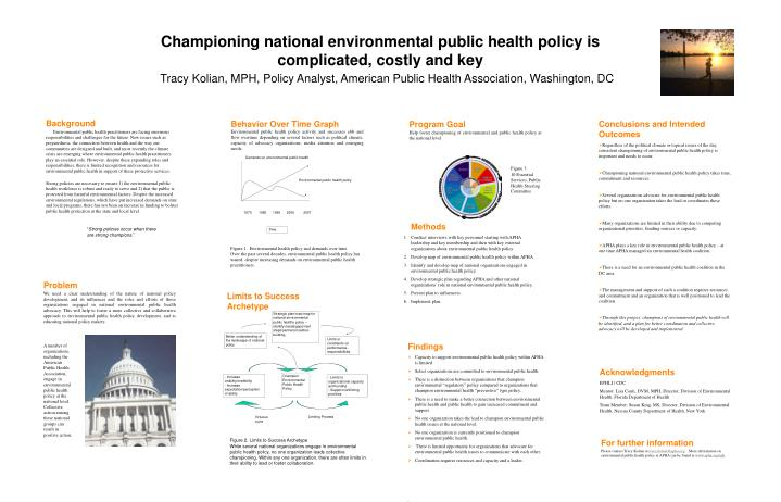 Championing national environmental public health policy is complicated, costly and key