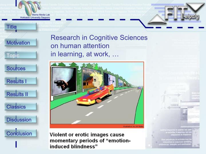 Research in Cognitive Sciences on human attention                      in learning, at work, …