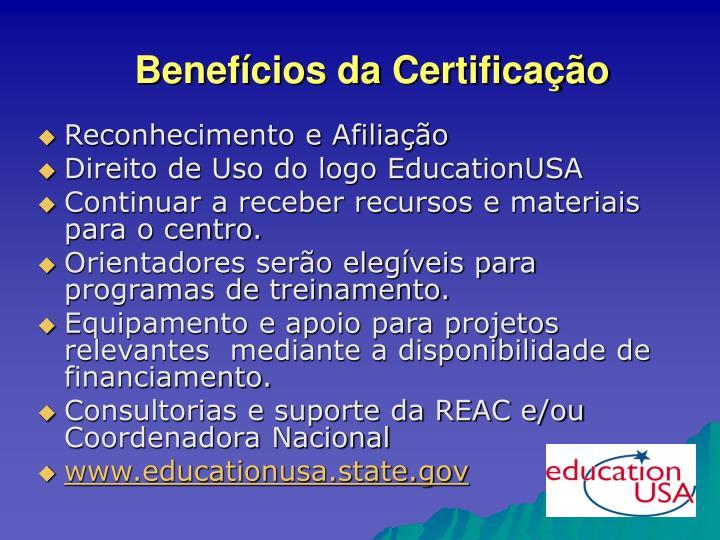 Benefícios da Certificação