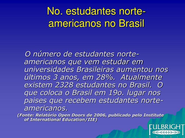 No. estudantes norte-americanos no Brasil