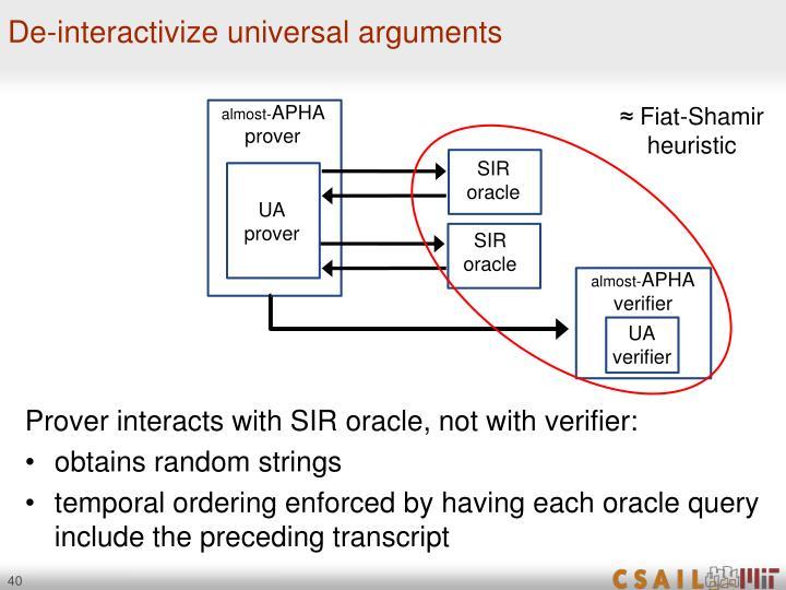 De-interactivize universal arguments