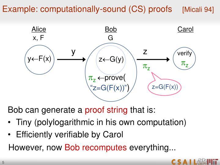 Example: computationally-sound (CS) proofs