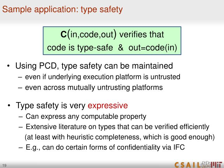 Sample application: type safety