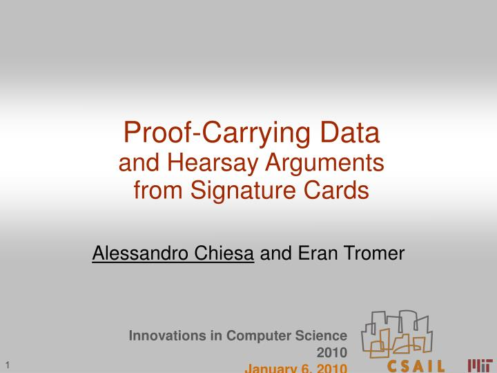 Proof-Carrying Data